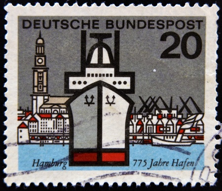 GERMANY - CIRCA 1964: Stamp printed in Germany dedicated to Hamburg, circa 1964 photo