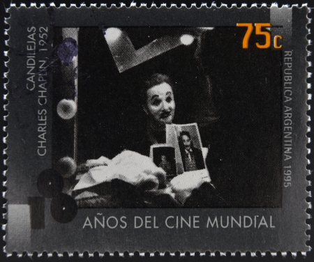 ARGENTINA - CIRCA 1995: A stamp printed in Argentina dedicated to 100 years of world cinema shows scene of Limelight by Charles Chaplin, circa 1995  Stock Photo - 17297648