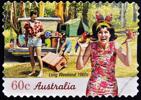 long weekend: AUSTRALIA - CIRCA 2010: A stamp printed in australia shows long weekend 1960s, circa 2010