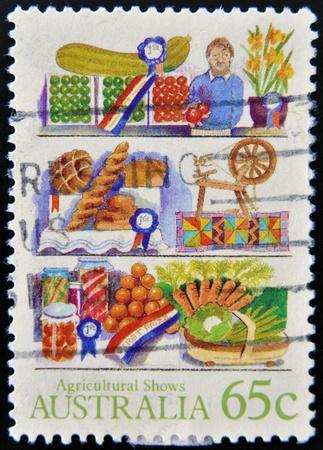 agricultura: AUSTRALIA - CIRCA 1987: A stamp printed in Australia shows farm products, Agricultural Shows series, circa 1987  Stock Photo