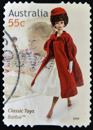AUSTRALIA - CIRCA 2009: A stamp printed in australia dedicated to classic toys, shows Barbie, circa 2009