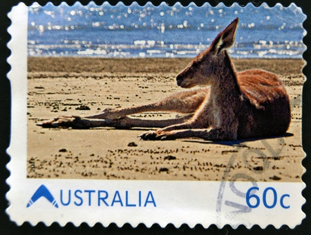 AUSTRALIA - CIRCA 2011: A stamp printed ibn Australia shows Kangaroo on the beach, circa 2011 photo