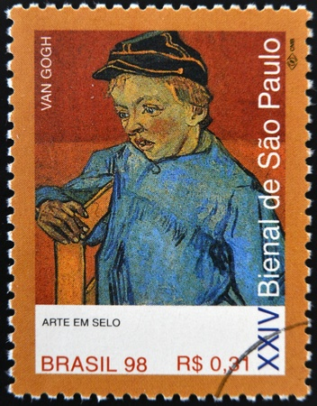 van gogh: BRAZIL - CIRCA 1998: A stamp printed in Brazil dedicated to Sao Paulo Biennial, shows The Schoolboy Camille Roulin by Van Gogh, circa 1998