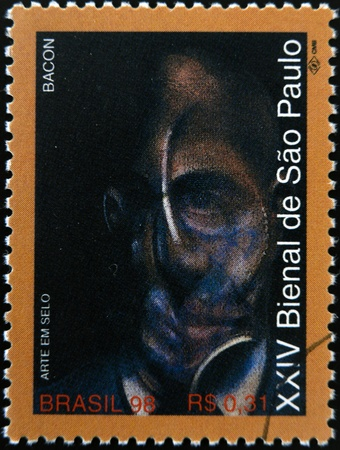 bacon portrait: BRAZIL - CIRCA 1998: A stamp printed in Brazil dedicated to Sao Paulo Biennial, shows portrait by Francis Bacon, circa 1998