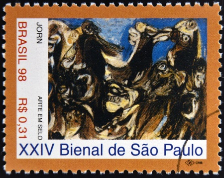 jorn: BRAZIL - CIRCA 1998: A stamp printed in Brazil dedicated to Sao Paulo Biennial, shows The Raft of the Medusa by Asger Jorn, circa 1998