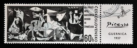 pablo: CZECHOSLOVAKIA - CIRCA 1966: A stamp printed in Czechoslovakia shows painting by Pablo Picasso Guernica , circa 1966