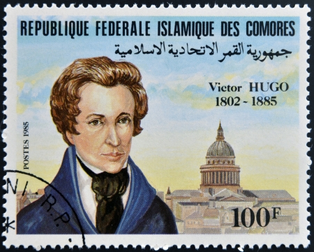 FEDERAL ISLAMIC REPUBLIC COMOROS - CIRCA 1985: A stamp printed in Comoros shows Victor Hugo, circa 1985 Stock Photo - 17297748