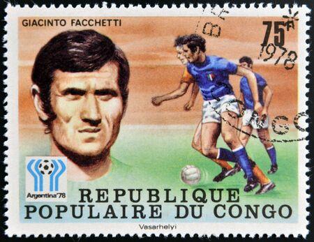 CONGO - CIRCA 1978: A stamp printed in Congo dedicated to the World Cup in Argentina 1978, shows Giacinto Facchetti, circa 1978 Stock Photo - 17297700