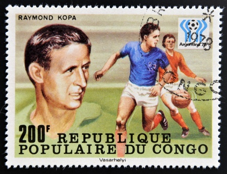 CONGO - CIRCA 1978: A stamp printed in Congo dedicated to the World Cup in Argentina 1978, shows Raymond Kopa, circa 1978 Stock Photo - 17297711