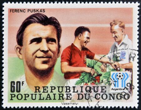 CONGO - CIRCA 1978: A stamp printed in Congo dedicated to the World Cup in Argentina 1978, shows Ferenc Puskas, circa 1978 Stock Photo - 17297704