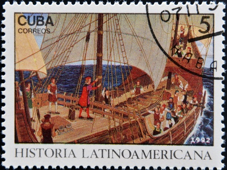 CUBA - CIRCA 1992: A stamp printed in cuba dedicated to Latin American history, shows Columbus speaking to crew, circa 1992  Stock Photo - 17297770