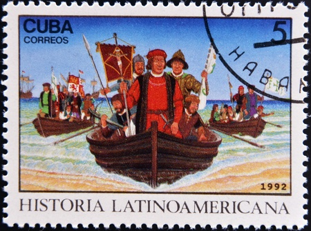 CUBA - CIRCA 1992: A stamp printed in cuba dedicated to Latin American history, shows Columbus landing in New World, circa 1992  Stock Photo - 17297769