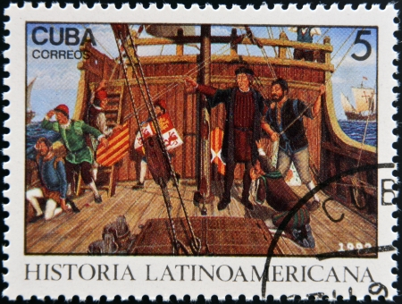 CUBA - CIRCA 1992: A stamp printed in cuba dedicated to Latin American history, shows Columbus Land sighted Oct. 12, 1942, circa 1992