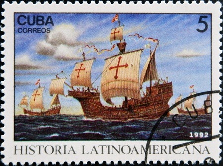 CUBA - CIRCA 1992: A stamp printed in cuba dedicated to Latin American history, shows Three ships stopping at Canary Islands, circa 1992  Stock Photo - 17297766