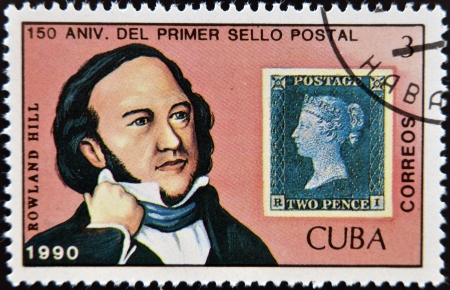 CUBA - CIRCA 1990: A stamp printed in Cuba dedicated to Sir Rowland Hill, circa 1990 Stock Photo - 17297768