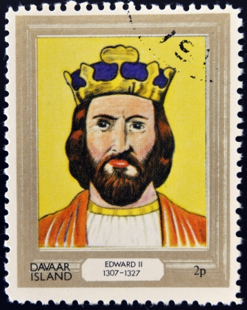 king edward: DAVAAR ISLAND - CIRCA 1977: A stamp printed in Davaar Island dedicated to the kings and queens of Britain, shows King Edward II (1307 - 1327), circa 1977