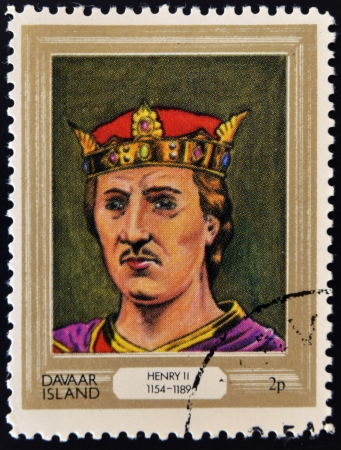 lineage: DAVAAR ISLAND - CIRCA 1977: A stamp printed in Davaar Island dedicated to the kings and queens of Britain, shows King Henry II (1154 - 1189), circa 1977