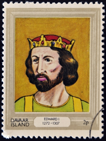 king edward: DAVAAR ISLAND - CIRCA 1977: A stamp printed in Davaar Island dedicated to the kings and queens of Britain, shows King Edward I (1272- 1307), circa 1977
