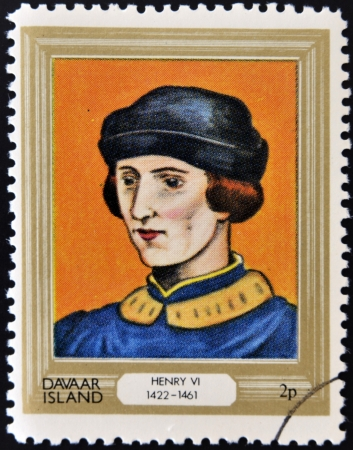 lineage: DAVAAR ISLAND - CIRCA 1977: A stamp printed in Davaar Island dedicated to the kings and queens of Britain, shows King Henry VI (1422 - 1461), circa 1977  Editorial
