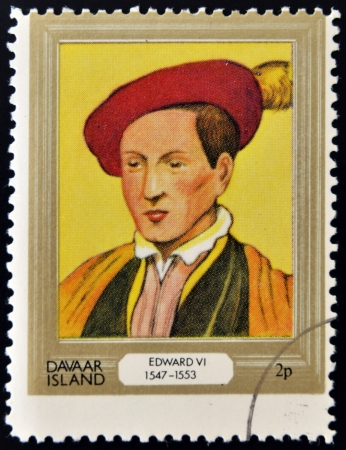 vi: DAVAAR ISLAND - CIRCA 1977: A stamp printed in Davaar Island dedicated to the kings and queens of Britain, shows King Edward VI (1547 - 1553), circa 1977