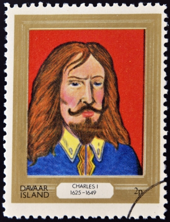 lineage: DAVAAR ISLAND - CIRCA 1977: A stamp printed in Davaar Island dedicated to the kings and queens of Britain, shows King Charles I (1625 - 1649), circa 1977  Editorial