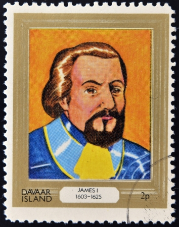 king james: DAVAAR ISLAND - CIRCA 1977: A stamp printed in Davaar Island dedicated to the kings and queens of Britain, shows King James I (1603 - 1625), circa 1977