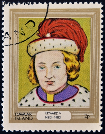 king edward: DAVAAR ISLAND - CIRCA 1977: A stamp printed in Davaar Island dedicated to the kings and queens of Britain, shows King Edward V (1483 - 1483), circa 1977