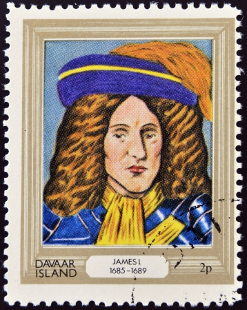 king james: DAVAAR ISLAND - CIRCA 1977: A stamp printed in Davaar Island dedicated to the kings and queens of Britain, shows King James I (1685 - 1689), circa 1977