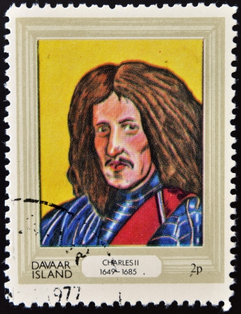 DAVAAR ISLAND - CIRCA 1977: A stamp printed in Davaar Island dedicated to the kings and queens of Britain, shows King Charles II (1649 - 1685), circa 1977