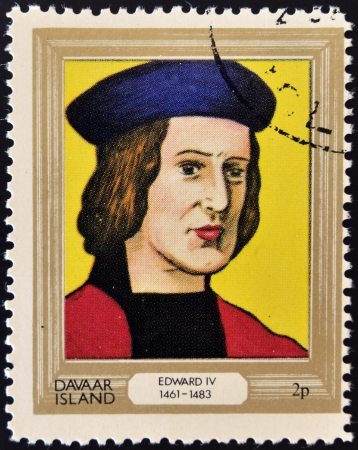 lineage: DAVAAR ISLAND - CIRCA 1977: A stamp printed in Davaar Island dedicated to the kings and queens of Britain, shows King Edward IV (1461 - 1483), circa 1977  Editorial