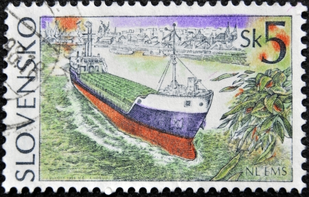 SLOVAKIA - CIRCA 1994: A stamp printed in Slovakia shows merchant ship, circa 1994  photo