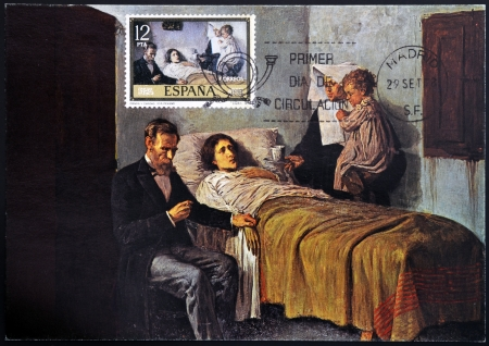 ruiz: SPAIN - CIRCA 1978: stamp printed in Spain shows Science and Charity by Pablo Ruiz Picasso, circa 1978