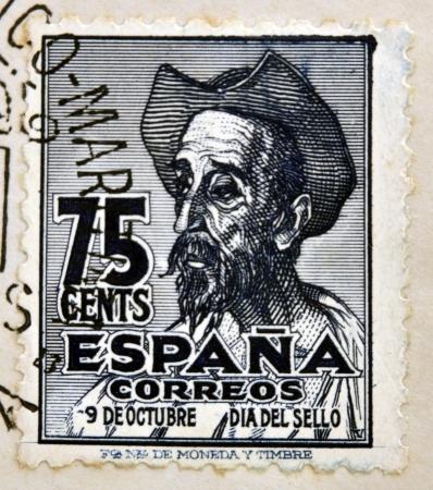 don quijote: ESPA�A - CIRCA 1947: Un sello impreso en Espa�a muestra a Don Quijote, circa 1947