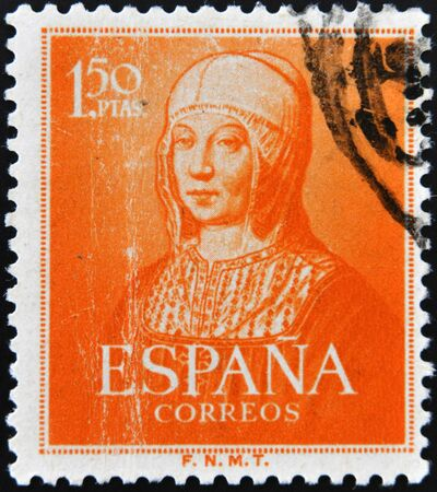 queen isabella: SPAIN - CIRCA 1951: A stamp printed in Spain shows Queen Isabella the Catholic, circa 1951