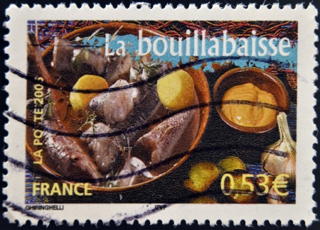 FRANCE - CIRCA 2006: A stamp printed in France shows Bouillabaisse, circa 2006 photo