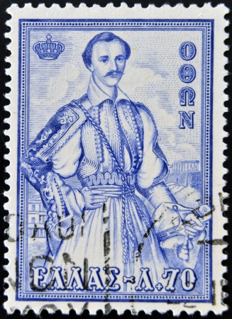 stempeln: GREECE - CIRCA 1956: A stamp printed in Greece from the Royal Family issue shows King Otto of Greece, circa 1956.