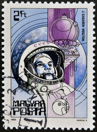 vostok: HUNGARY - CIRCA 1982: A Stamp printed in Hungary shows the Yuri Gagarin, Vostok, circa 1982  Editorial