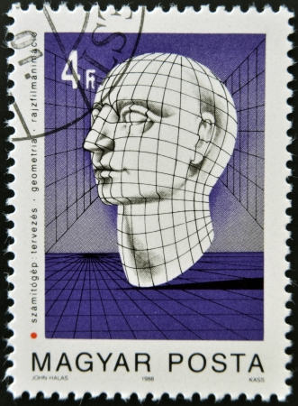 HUNGARY - CIRCA 1988: stamp printed in Hungary shows Graphic of Human Head, circa 1988  photo
