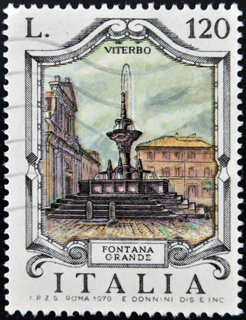 ITALY - CIRCA 1979: a stamp printed in Italy shows Great Fountain, Viterbo, circa 1979  photo