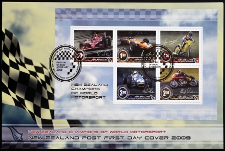 NEW ZEALAND - CIRCA 2009. Stamps printed in New Zealand dedicated to New Zealand champions of world motorsport, circa 2009 Stock Photo - 17297659