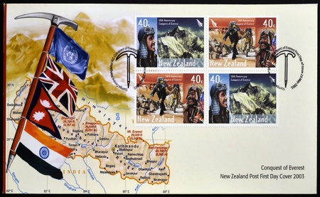 conquest: NEW ZEALAND - CIRCA 2003: Stamps printed in New Zealand dedicated to conquest of Everest, circa 2003 Editorial
