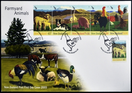 NEW ZEALAND - CIRCA 2005: Stamps printed in New Zealand dedicated to farmyard animals, circa 2005 photo