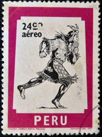 PERU - CIRCA 1977: A stamp printed in Peru shows The chasqui, mail the Incas, circa 1977 photo