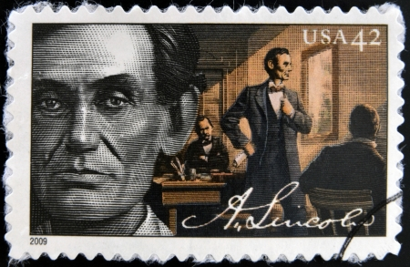UNITED STATES OF AMERICA - CIRCA 2009: A stamp printed in USA shows Abraham Lincoln served as the 16th President of the United States, circa 2009