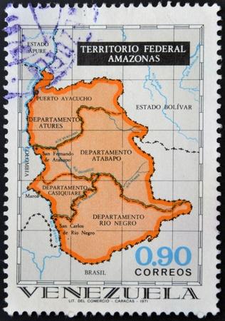 VENEZUELA - CIRCA 1961: A stamp printed in Venezuela shows Amazonas Federal Territory, circa 1961 photo