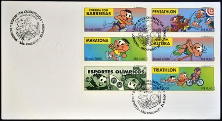 pentathlon: BRAZIL - CIRCA 2000: Stamps printed in Brazil dedicated to Olympic games, circa 2000 Editorial