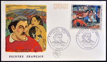 FRANCE - CIRCA 1968: stamp printed by France, shows Arearea (Merriment) by Paul Gauguin, circa 1968  Stock Photo - 17522599
