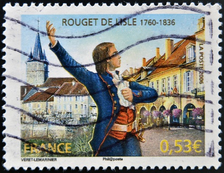 FRANCE - CIRCA 2006: A stamp printed in France shows Claude Joseph Rouget de Lisle, composer of the Marseillaise, the French national anthem, circa 2006