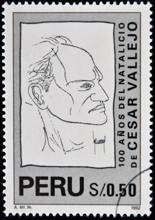 PERU - CIRCA 1992: A stamp printed in Peru shows Cesar Vallejo, circa 1992 photo