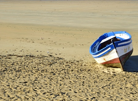 fishing scene: Boat on the beach